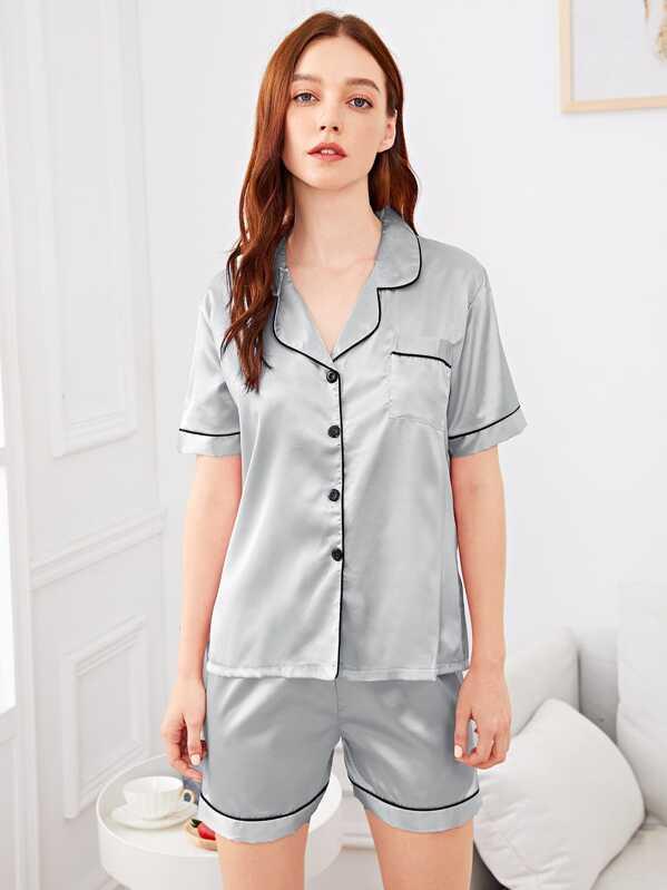 17e8a78899 Cheap Contrast Binding Button Up Pajama Set for sale Australia