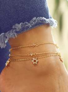 Rhinestone Star Charm Chain Anklet Set 3pcs