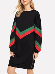 Chevron Panel Sweatshirt Dress