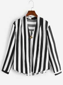 Plus V-Neck Striped Blouse