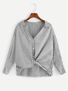 Contrast Striped Panel Dip Hem Blouse