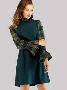 Frill Neck Flounce Sleeve Plaid 2 In 1 Dress