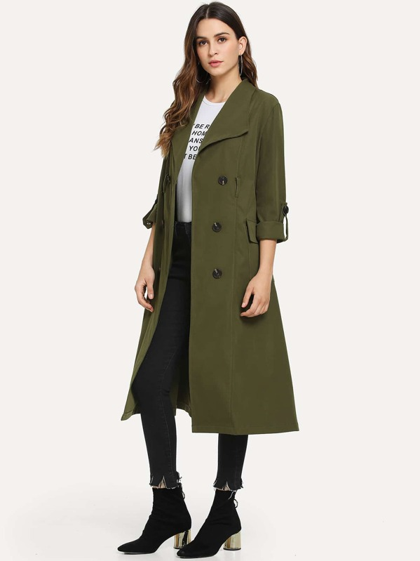 5f22ae7fa7 Solid Belted Double Breasted Trench Coat