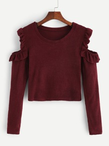 Cold-Shoulder Frill Detail Sweater