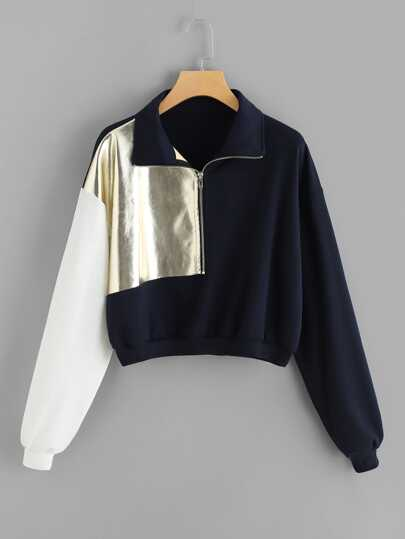 Quarter Zip Cut And Sew Sweatshirt
