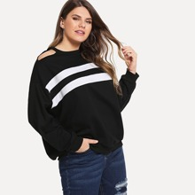 Plus Cold-shoulder Striped Sweatshirt