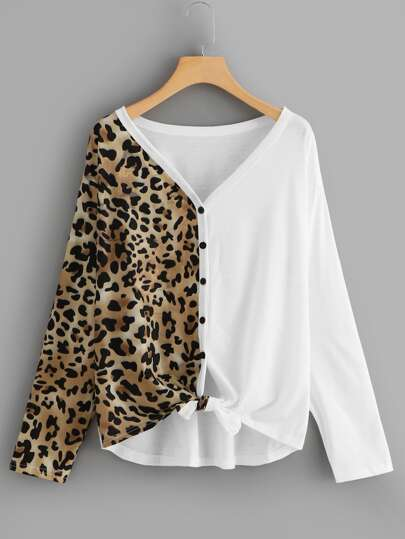 Leopard Spliced Button Through Top