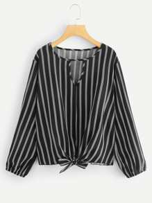 Plus Varsity Striped Blouse