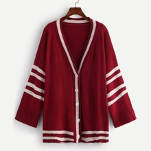Plus Striped Single-breasted Sweater Coat
