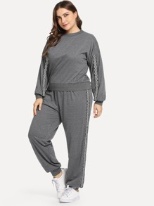 Plus Drop Shoulder Sweatshirt With Sweatpants