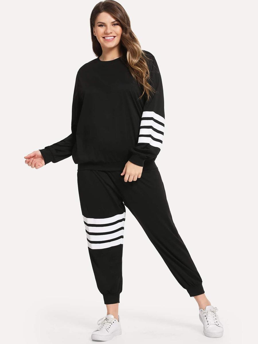 1882c1ca5c Shoptagr | Plus Varsity Striped Sweatshirt With Sweatpants by Sheinside