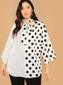 Plus Tie Neck Mixed Polka Dot Print Top