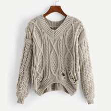 Ripped Cable Knit Drop Shoulder Sweater