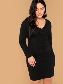 Plus Long Sleeve Ruched Pencil Dress
