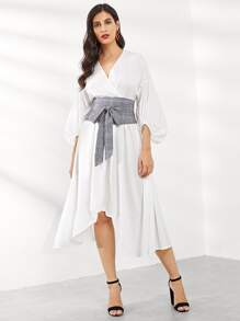 Tie Waist Surplice Wrap Asymmetrical Dress