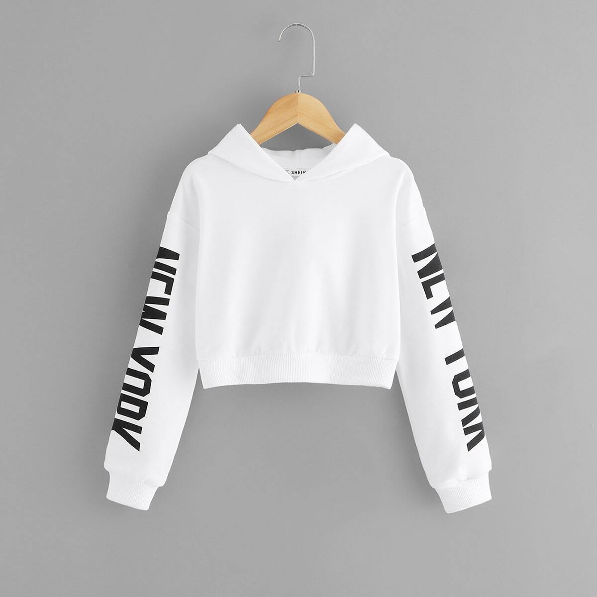 SHEIN coupon: Girls Letter Graphic Sleeve Hoodie