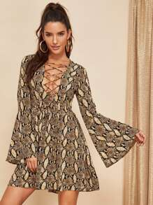 Lace Up Plunge Bell Sleeve Snakeskin Dress