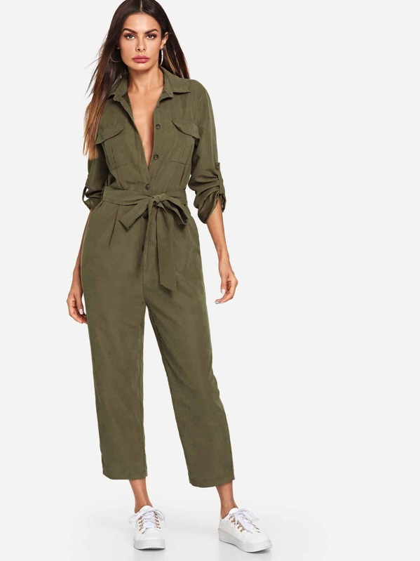 f399c97785 Roll Tab Sleeve Button Front Self Belted Utility Jumpsuit | SHEIN