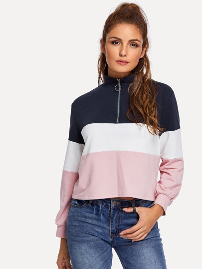 Color-Block Zip Half Placket Pullover