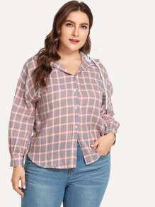 Plus Plaid Single-breasted Hooded Blouse