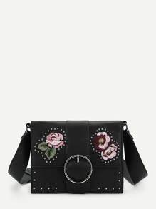 Flower Embroidery Studded Crossbody Bag