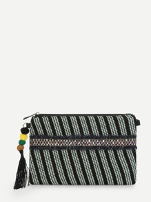 Tassel And Pom Pom Decor Clutch