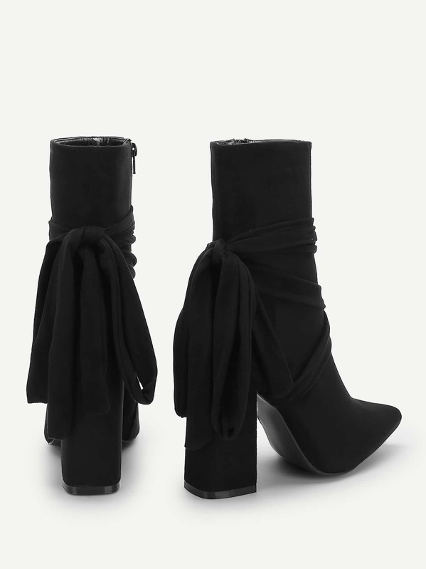 369b9ac2bb Knot Back Pointed Toe Block Heeled Boots | SHEIN IN