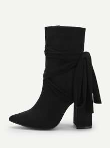 Knot Back Pointed Toe Block Heeled Boots