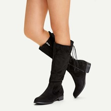 Lace-up Back Knee High Boots