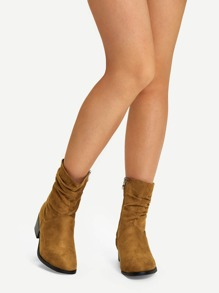 Plain Faux Suede Ruched Boots