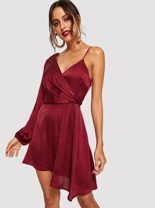 Asymmetrical One Shoulder Solid Surplice Dress