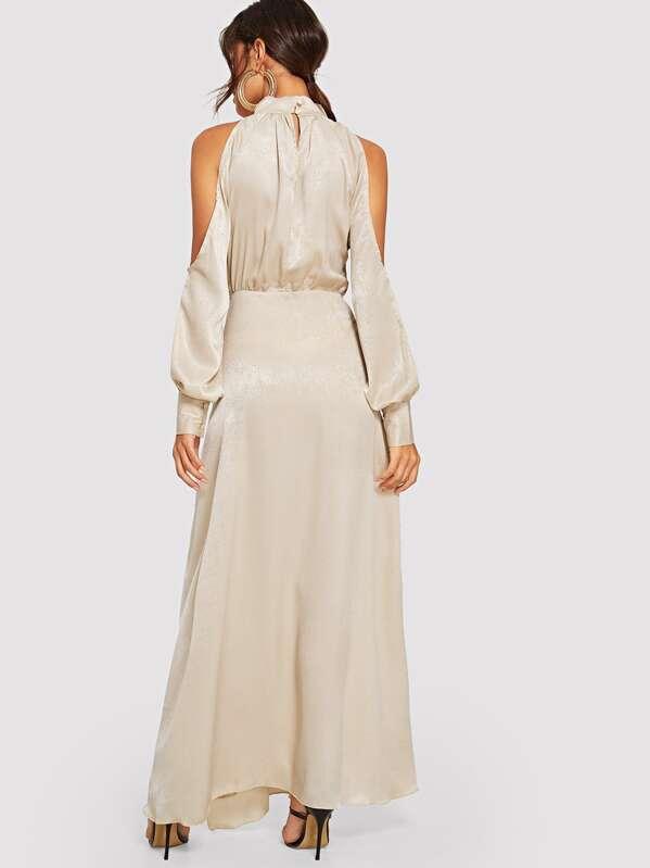 922b6d41e01ad Open Shoulder M-slit Maxi Dress | SHEIN