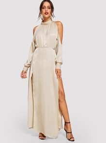 bf90aff223ecc Open Shoulder M-slit Maxi Dress | SHEIN IN