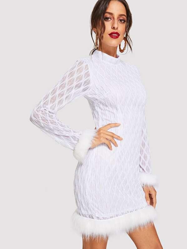 f00290b04f Stand Collar Contrast Faux Fur Trim Dress   SHEIN
