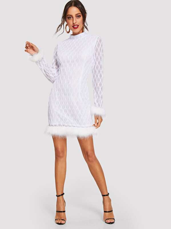 5d24224091 Stand Collar Contrast Faux Fur Trim Dress. AddThis Sharing Buttons