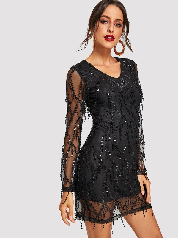 70a5aef0eb Sequin Mesh Overlay Dress | SHEIN