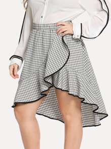 Plus Contrast Binding Flounce Gingham Skirt