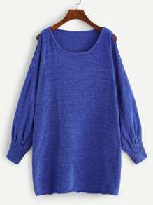 Plus Split Drop Shoulder Solid Jumper