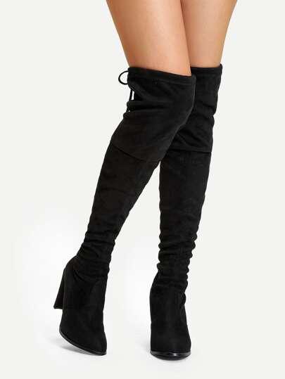 on sale de1a2 3ddde Suede Over The Knee Plain Boots