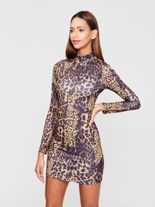 Mock-neck Leopard Print Bodycon Dress