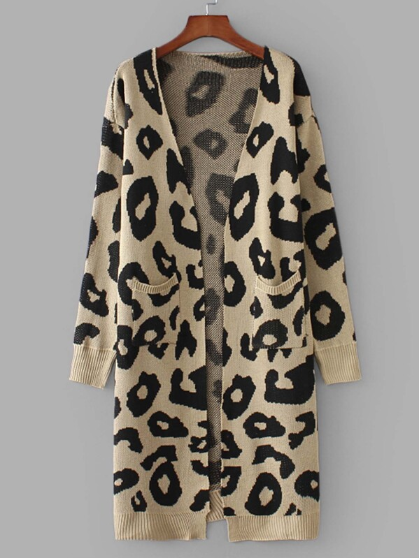 911378c54b0f Cheap Pocket Front Leopard Print Cardigan for sale Australia | SHEIN