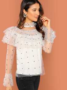 Sheer Mesh Frill Neck Tiered Layer Blouse