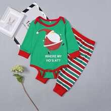 Christmas Kids Santa Print Striped Pajama Set