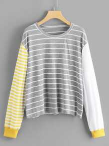 Plus Striped Color-block Tee