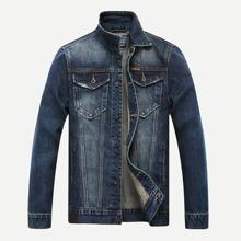 Image of Men Washed Denim Jacket
