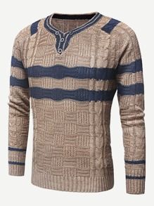 Men Button Cable Knit Jumper