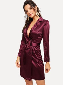 Deep V Neck Belted Satin Dress