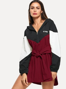 Knot Front Cut & Sew Hoodie Windbreaker Dress