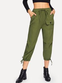 Drawstring Solid Pants