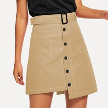 Single Breasted Dip Hem Belted Skirt